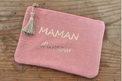 "Pochette ""Maman d'amour"" rose"